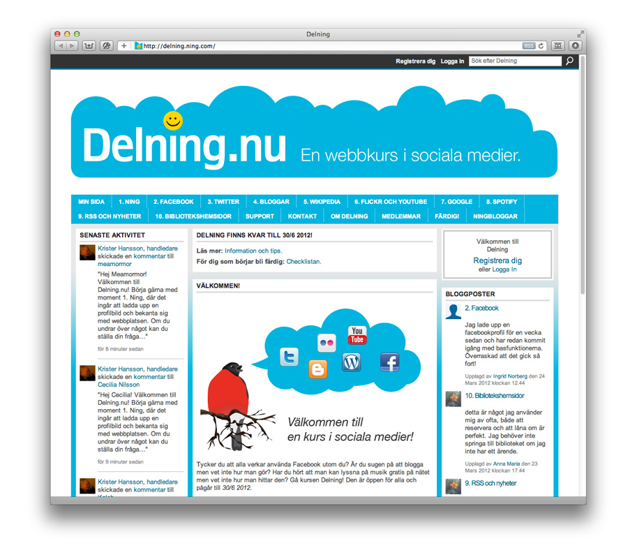 Delning.nu – en webbkurs i sociala medier